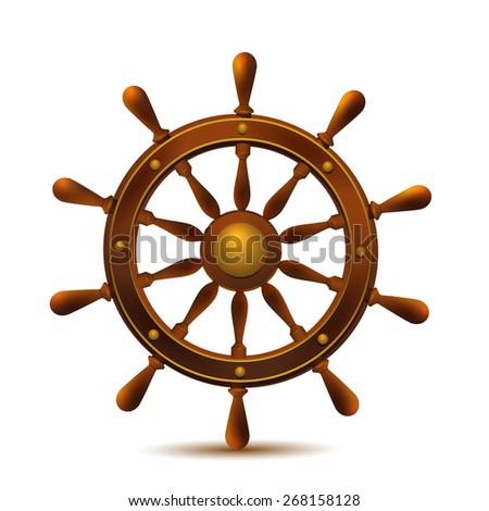 Ship wheel marine wooden vintage vector illustration isolated on white background. - stock vector
