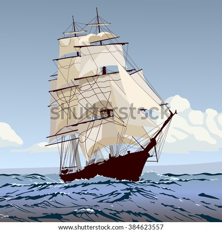 ship with sails running on the waves