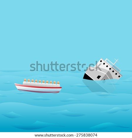 Ship-Wreck Icon. Vector Illustration for banners, card and posters - stock vector