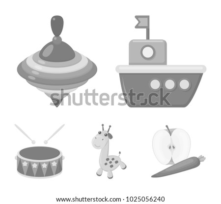 Ship, yule, giraffe, drum. Toys set collection icons in monochrome style vector symbol stock illustration web.