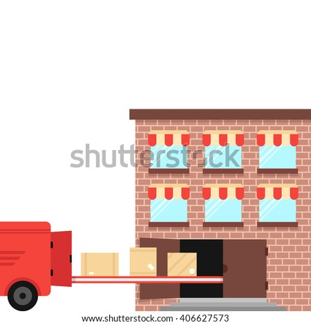 shipment ex warehouse on delivery vehicle. concept of carrier, import, job, van, trailer, crate, pallet, lease, carry, depot. flat style trend modern design vector illustration on white background
