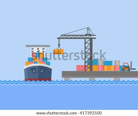 Shipment Freight Ocean Sea River Shipping Loading Cargo on Stylish Background Modern Flat Design Template Vector  - stock vector