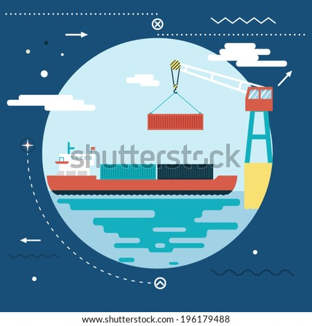 Shipment Freight Symbol Ocean Sea River Shipping Loading Cargo on Stylish Background Modern Flat Design Template Vector Illustration - stock vector