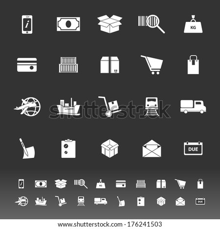 Shipment icons on gray background, stock vector