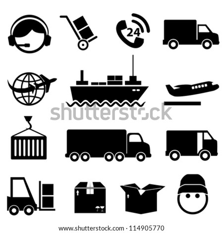 Shipping and cargo icon set in black - stock vector