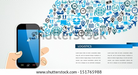 Shipping and logistics mobility concept: hand holds a smart phone with icons splash. Vector layered for easy personalization.