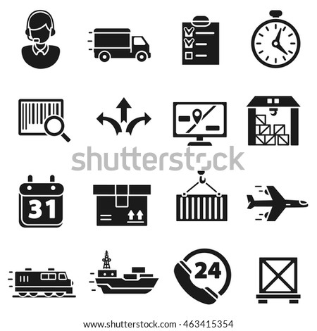 Shipping and logistics simple icons set. Parcel delivery collection
