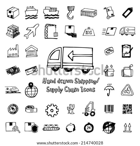 Shipping and Supply Chain Hand Drawn icons - stock vector