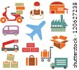 shipping and supply chain icons set in grunge and vintage style - stock vector