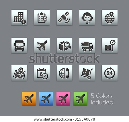 Shipping and Tracking Icons  The vector file includes 5 color versions for each icon in different layers ---- - stock vector