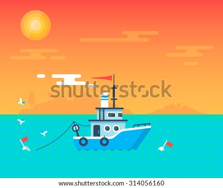 Shipping boat in the ocean with the beautiful sunset and friendly seagull. Fully editable vector illustration. Perfect for cards, posters and flayers. - stock vector