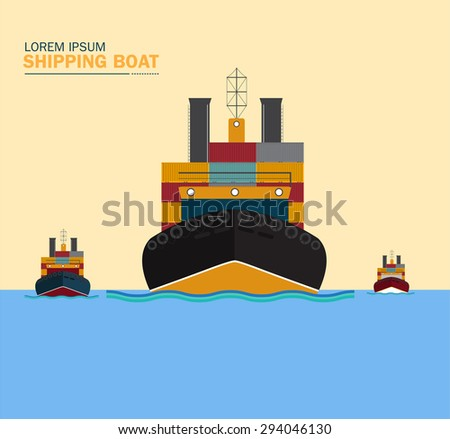 SHIPPING BOAT with container and Cargo container ship - stock vector