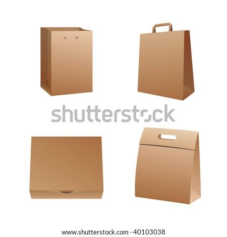 shipping box and bag vector illustration - stock vector