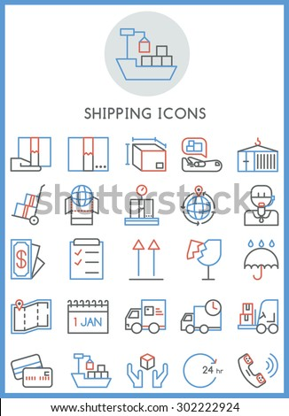 Shipping business icons set vector - stock vector
