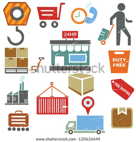 shipping business icons, supply chain management in grunge and vintage style - stock vector