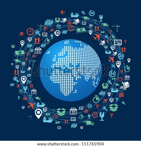Shipping concept icons network circle around planet Earth with focus in Africa and Europe continents. Vector layered for easy editing. - stock vector