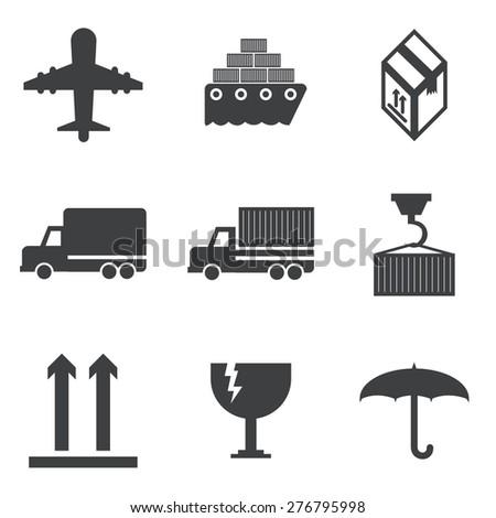 shipping icon set. - stock vector