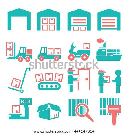 shipping icon set - stock vector