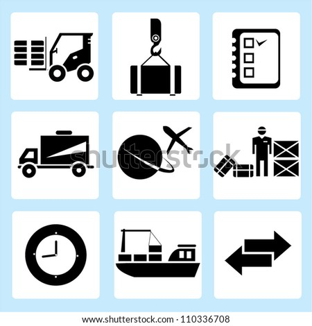 shipping icon set, delivery - stock vector