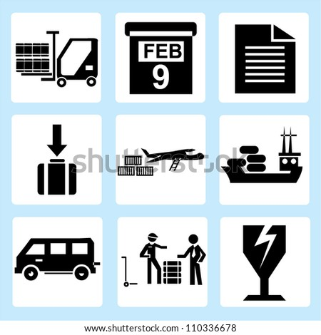 shipping icon set, delivery, transportation - stock vector