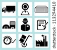shipping icon set, logistic icon set - stock vector