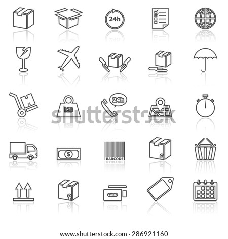 Shipping line icons with reflect on white, stock vector - stock vector