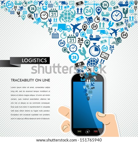 Shipping logistics concept icons set, human hand smart phone illustration. Vector layered for easy personalization. - stock vector
