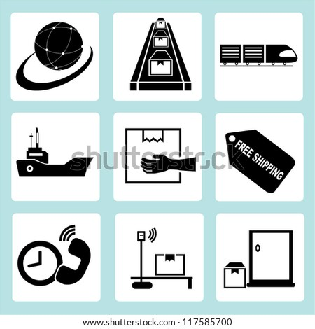 shipping management, transportation, product line, factory management - stock vector