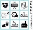 shipping management, transportation, product line, factory management, warehouse management - stock vector