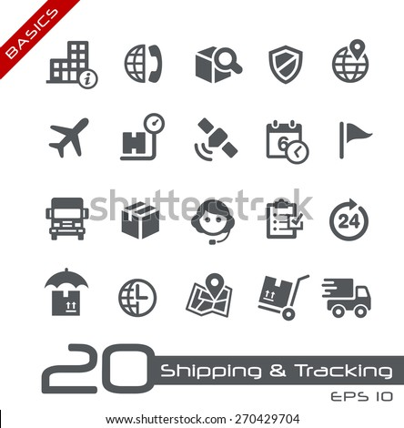 Shipping & Tracking Icons // Basics - stock vector