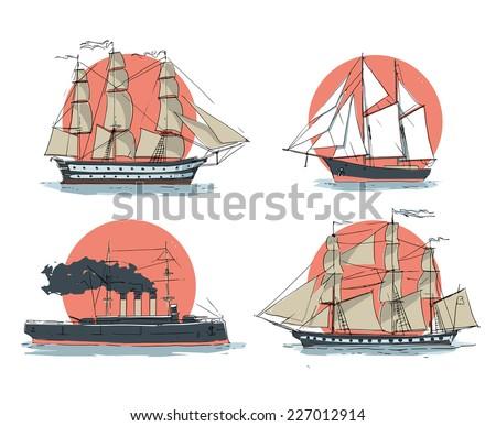ships - stock vector