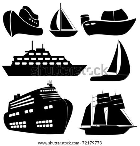 Ships and boats in black - stock vector