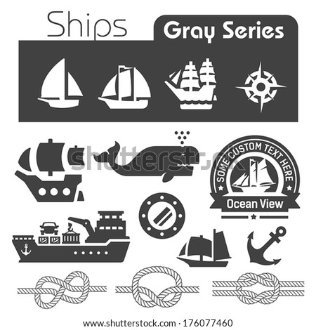 Ships icons gray series  - stock vector