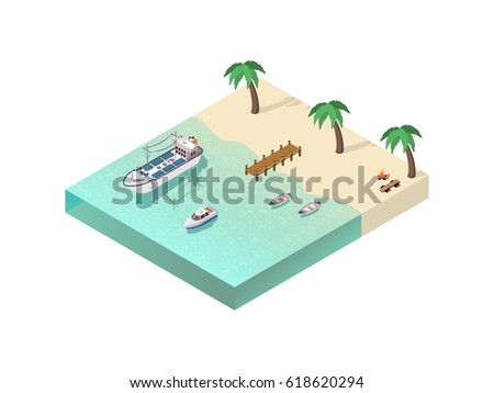 Ships isometric composition with tropical beach scenery campfire palms light wooden boats cutter and cargo ship vector illustration