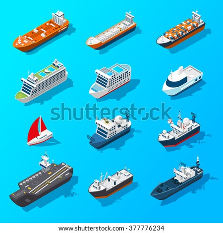 Ships motorboats sailing yachts and passenger vessels isometric icons set on water surface banner isolated vector illustration vector  - stock vector
