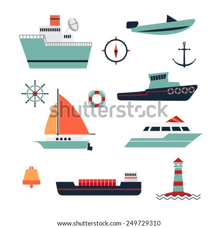 ships range. Includes boat, ship, boat, barge, scooter - stock vector