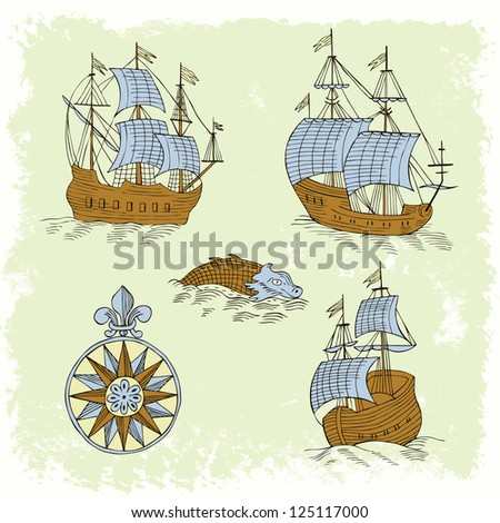 ships retro set - stock vector