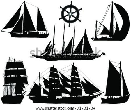 ships silhouettes collection-vector - stock vector