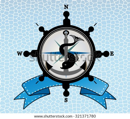 Ships steering wheel with anchor and  compass - fish intertwined and  and  banner behind  - layered  - stock vector
