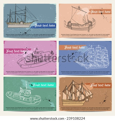 Ships. Vintage set of cards  - stock vector