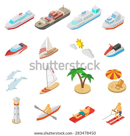 Ships yachts boats and beach vacation isometric icons set isolated vector illustration  - stock vector