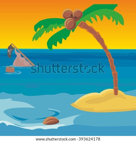 Shipwreck and a desert island with a coconut tree. Vector flat illustration