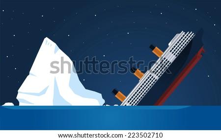 Shipwreck Iceberg Transatlantic Sank, vector illustration cartoon. - stock vector