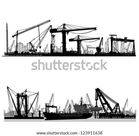 Shipyard, harbor skyline vector silhouette - stock vector