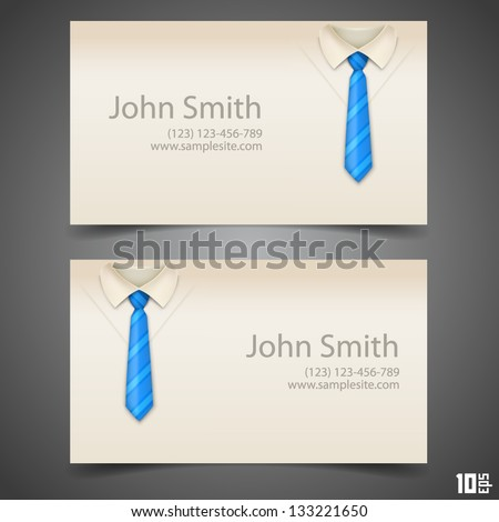 Shirt and tie vector business card - stock vector