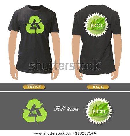 Shirt design with an ecologics icons. Realistic vector illustration. - stock vector