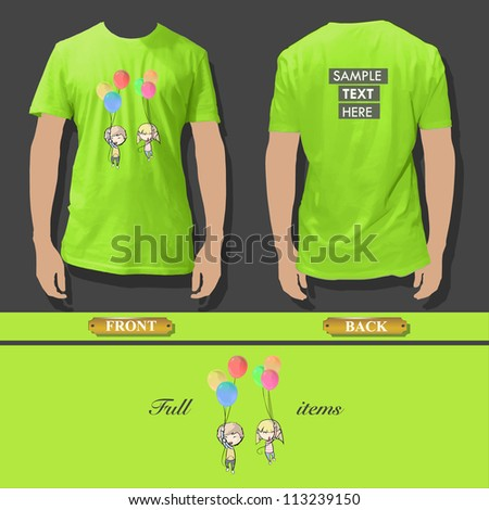 Shirt design with kids flaying with balloons. Realistic vector illustration. - stock vector