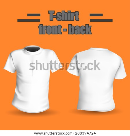 Shirt front and back on a orange background stylish vector illustration - stock vector