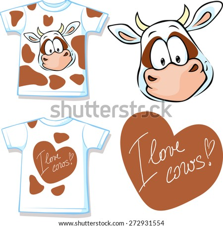 shirt with cute brown and white cow - vector illustration - stock vector