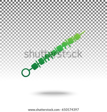 Shish kebab on skewers sign. Vector. Green gradient icon with shadow at bottom on transparent and white background.